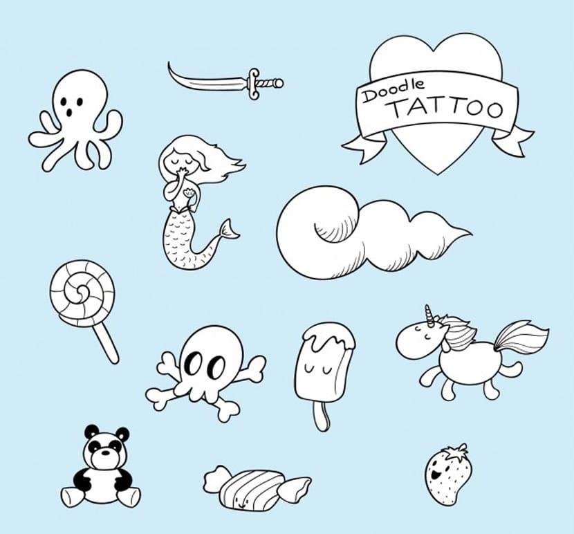 Simpáticos tatuajes dibujados a mano