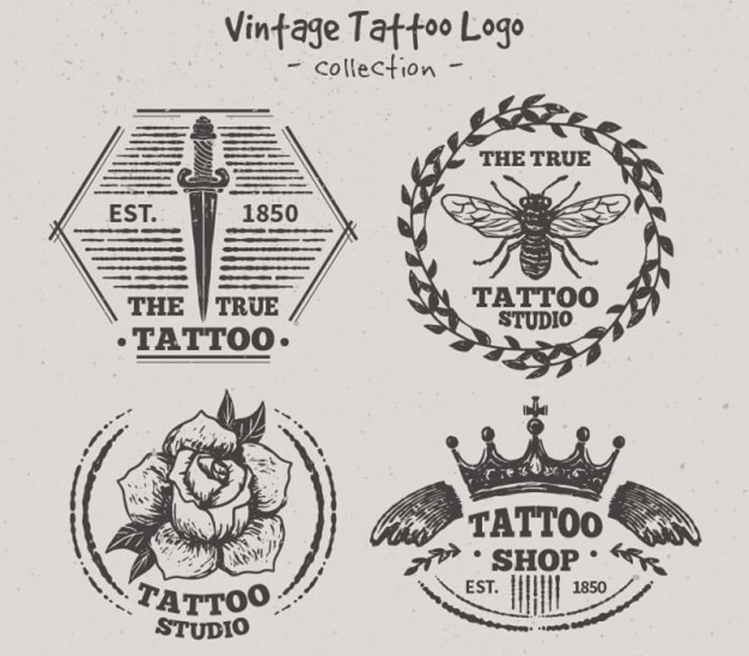Variedad de logos de tatuajes dibujados a mano