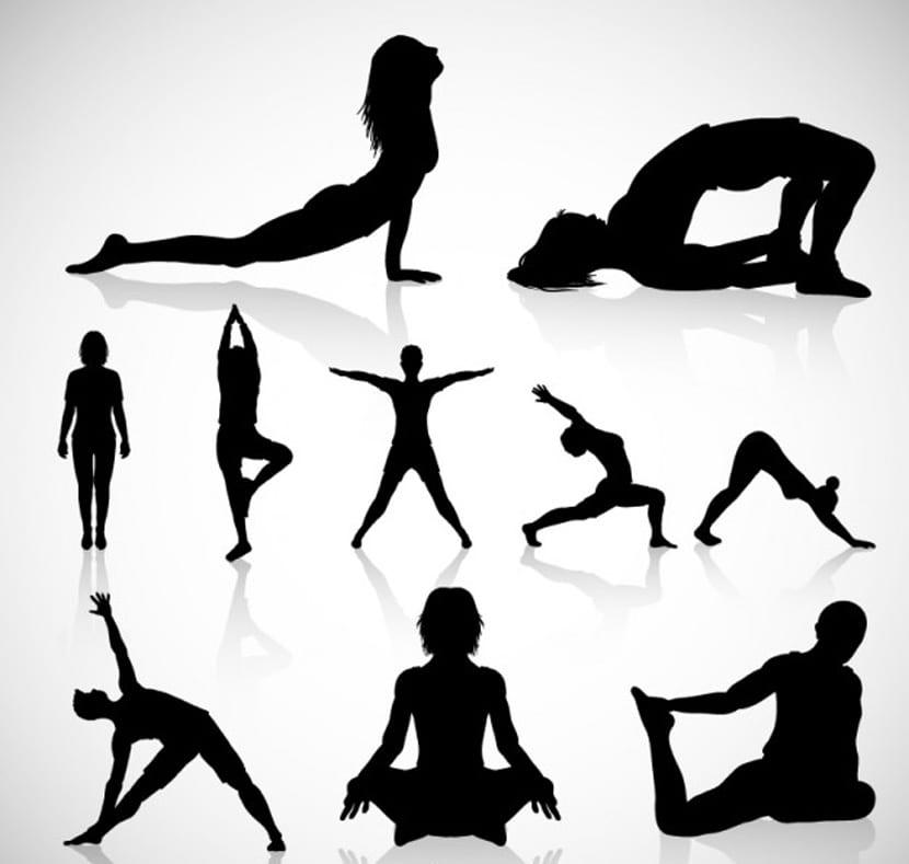 Yoga siluetas vector