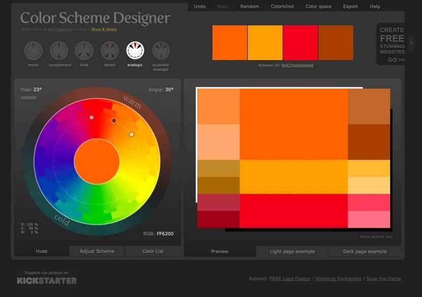 Herramienta llamada Color Scheme Designer