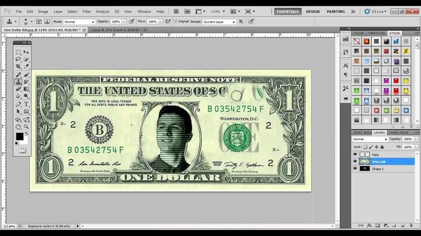 photoshop y las imagenes de dinero