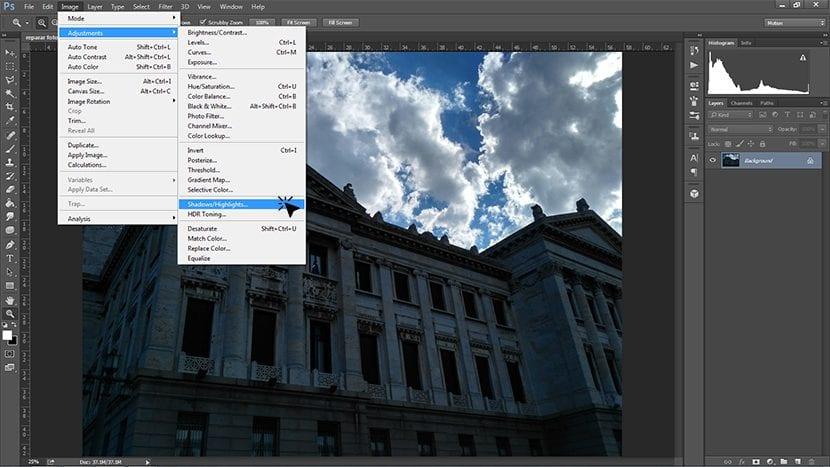 Pestaña Imagen - Ajustes - Sombra/iluminación
