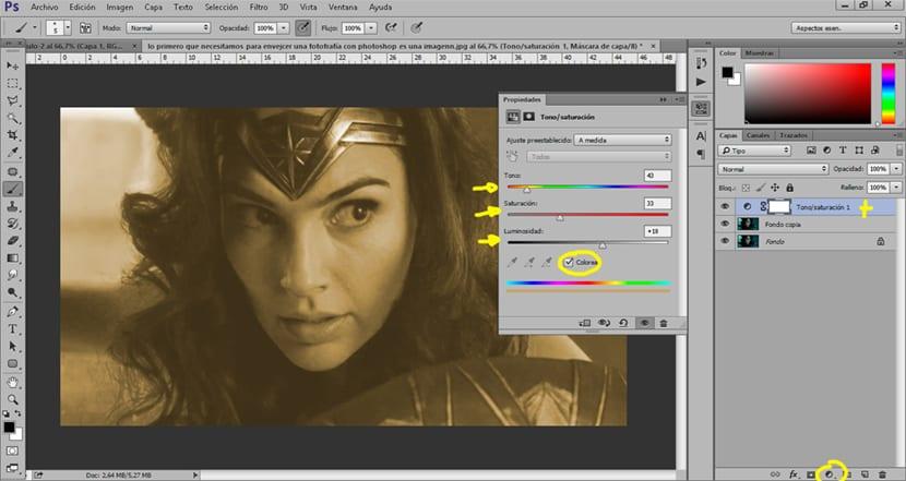 Usamos una capa de ajuste de tono saturación para cambiar el color de nuestra imagen