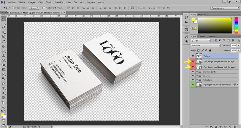 Usamos un mockup de tarjeta de visita para presentar una idea más atractiva al cliente
