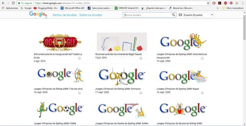 Google tiene una galeria propia de doodles donde podrás ver todos los diseños