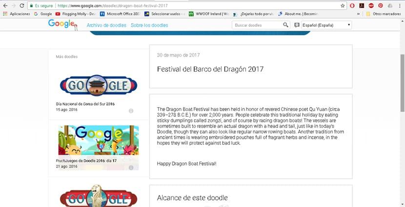 En la galería de doodles de Google podemos encontrar información detallada sobre cada uno de los doodles