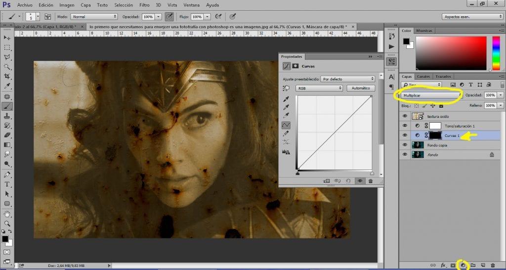 Cambiamos el contraste de nuestra imagen con una capa de ajuste curvas