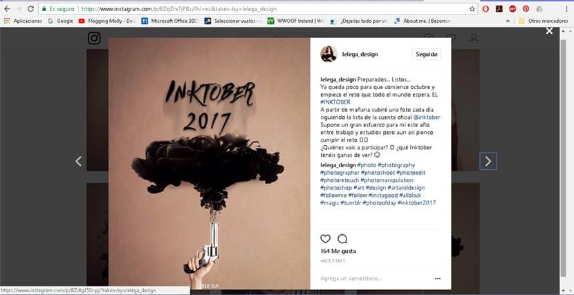 La artista Lelega_design utiliza la fotografía como técnica para el reto de InkTober
