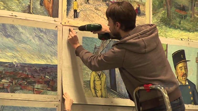 Fotogramas pintados a mano para la primera película pintada con óleo