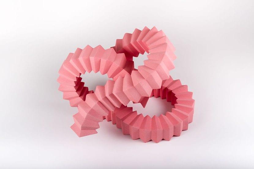Escultura modular rosa