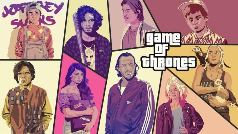 Ilustraciones de los personajes de Game of Thrones al estilo GTA de Mike Wrobler