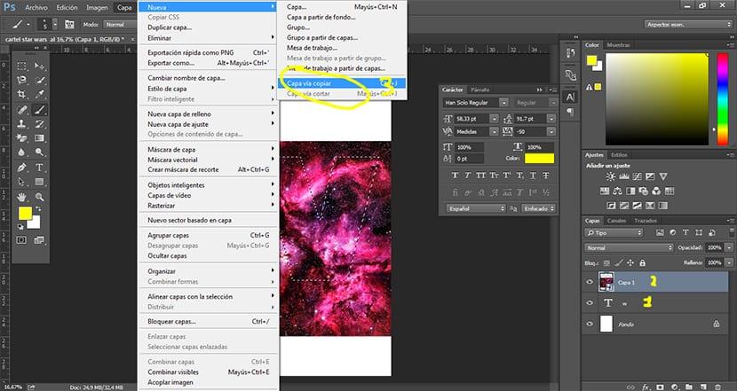 creamos una capa nueva para conseguir el efecto en la tipografía