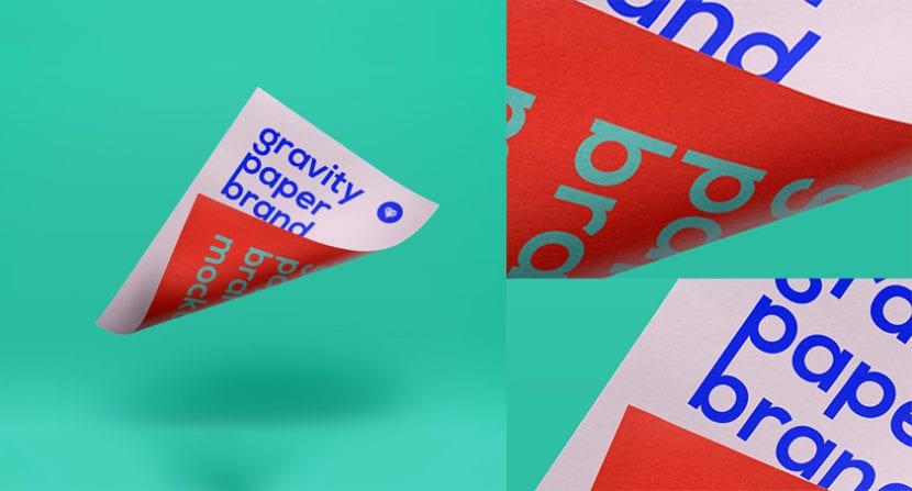 Flyer con efecto de gravedad sobre fondo de color