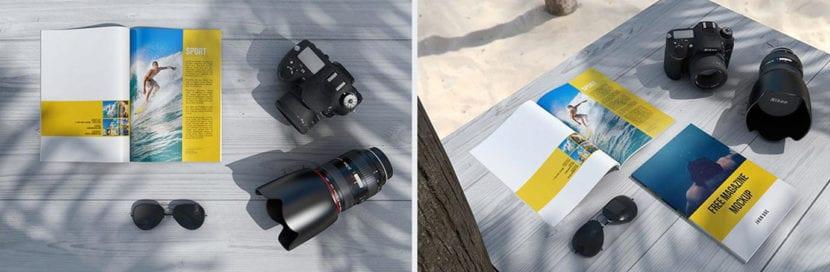 Revista en exterior con elementos de fotografía