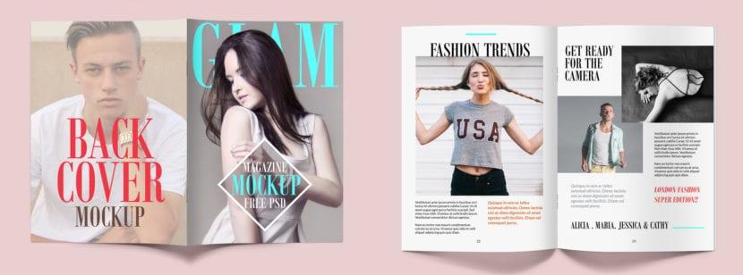 Mockup de revista con tapa, contratapa y páginas interiores