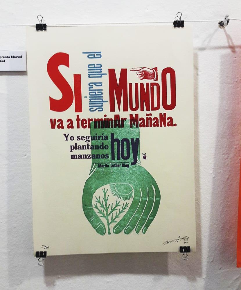 muestra impresión tipográfica