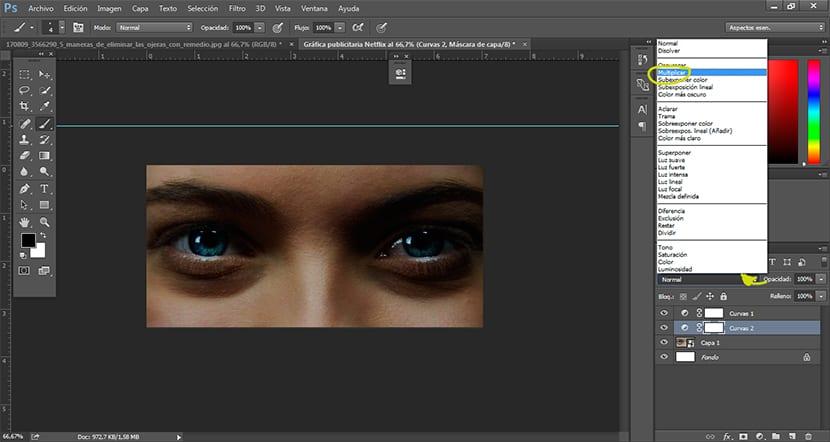 Una capa de ajuste en modo multiplicar nos permite oscurecer la imagen