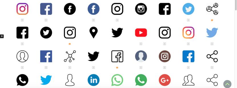 Pantalla de selección de iconos en Flaticon