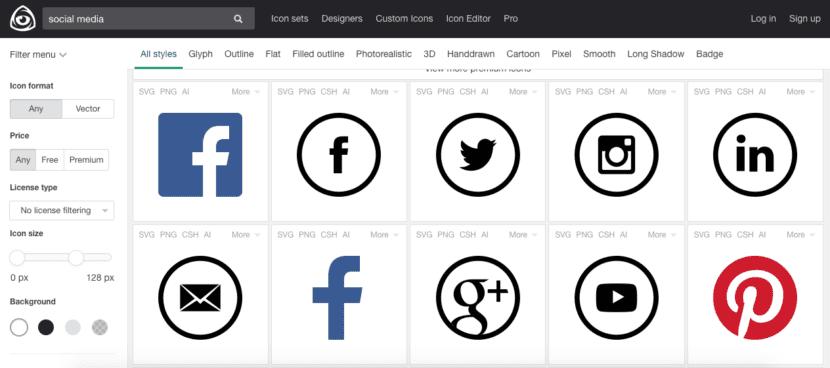 Pantalla de selección de iconos en Icon Finder