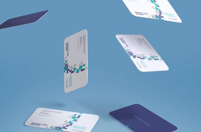 Mockup de tarjetas de bordes redondeados con efecto de caida