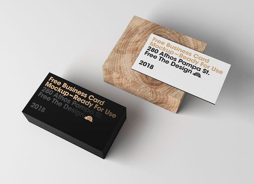 Mockup de tarjetas de negocios con stamping