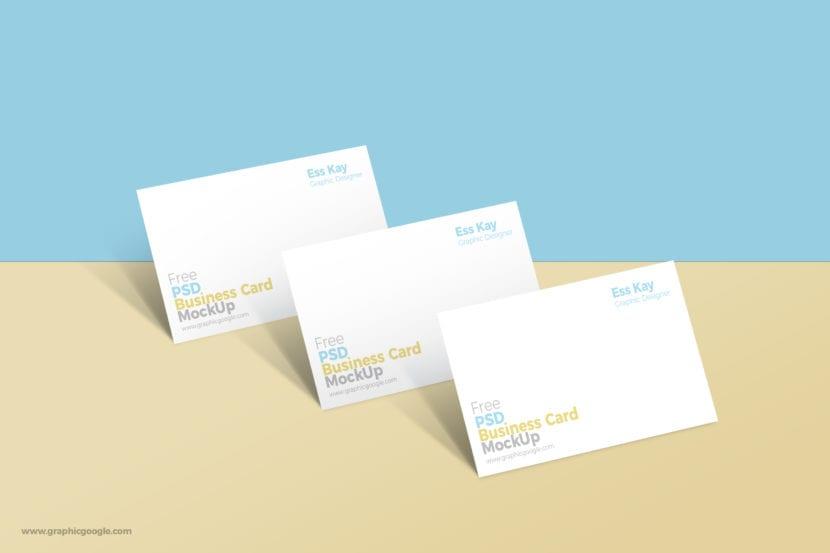 Mockup de tarjetas minimalistas sobre doble fondo de color