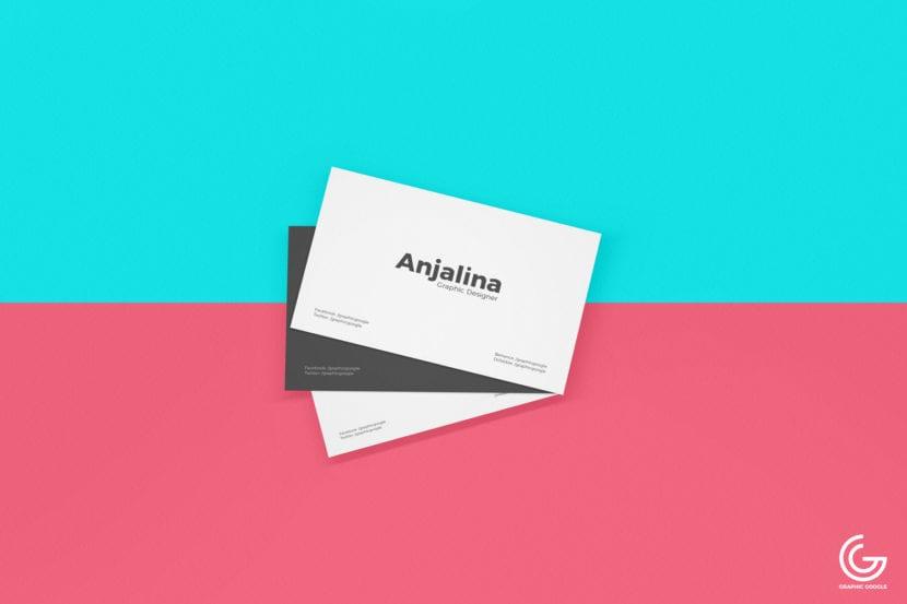 Tarjeta minimalista con fondo de doble color