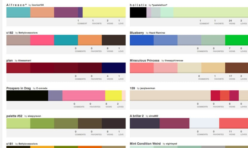 Pantalla de Colour Lovers