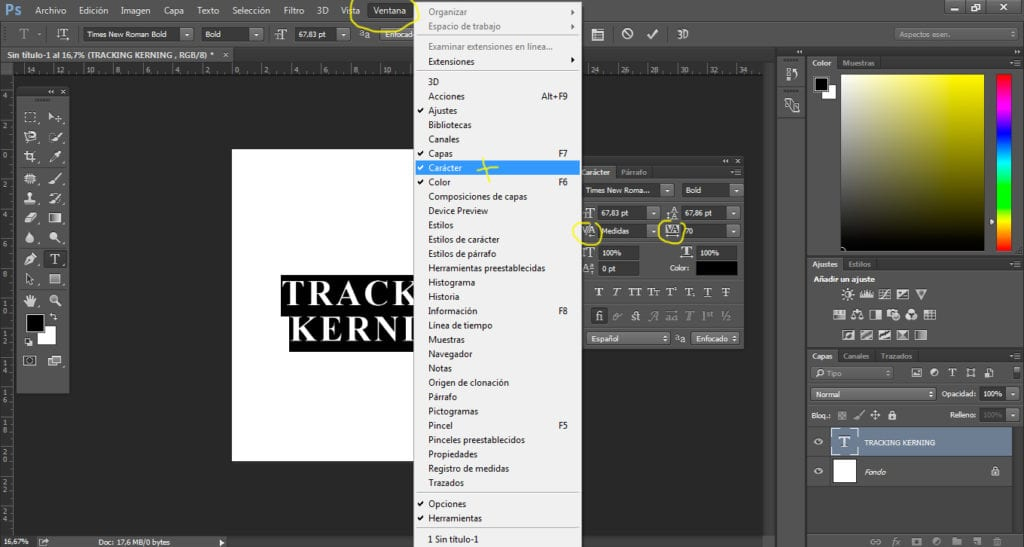 Modificar el tracking y el kerning en Photoshop