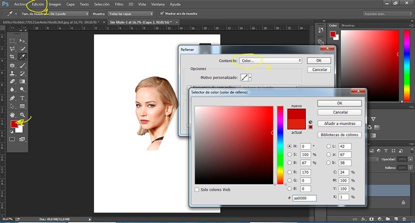 usamos la muestra de color para cambiar el fondo de nuestro cartel