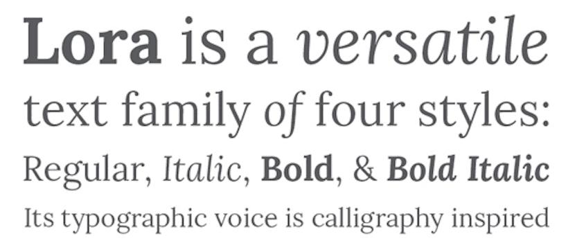 Lora tipografías