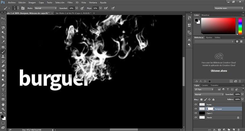 para un mayor realismo en el efecto de tipografía de humo podemos borrar partes de la tipo