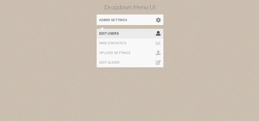 Menú interfaz dropdown