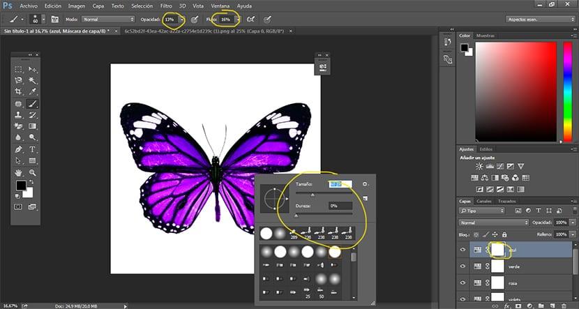Modificamos las opciones del pincel para conseguir crear el efecto de color