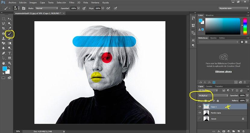 Pintamos encima de la imagen cambiando el modo de capa
