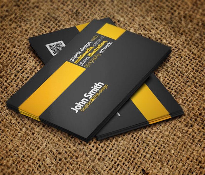 tarjeta visita amarilla