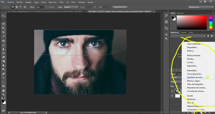 Podemos modificar cualquier opción de la imagen con una capa de ajuste