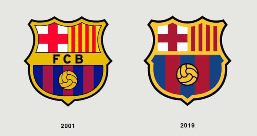 Escudo 2001 y 2019 del Barça