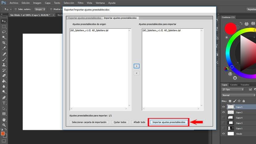 importar ajustes preestablecidos 2 Adobe Photoshop