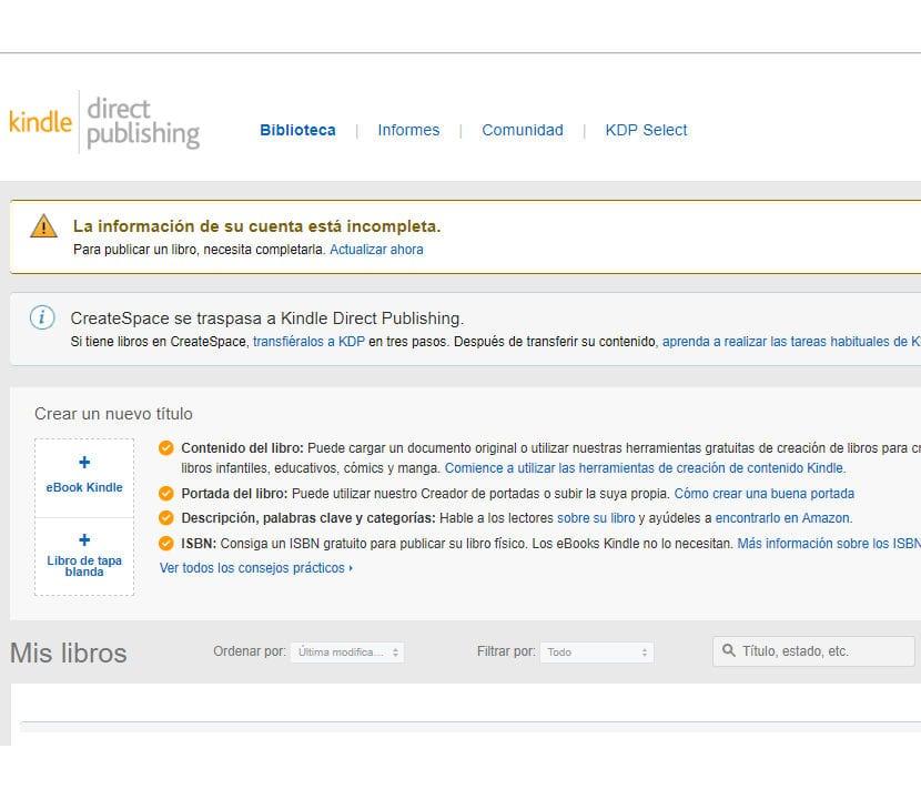 Amazon KDP página de inicio