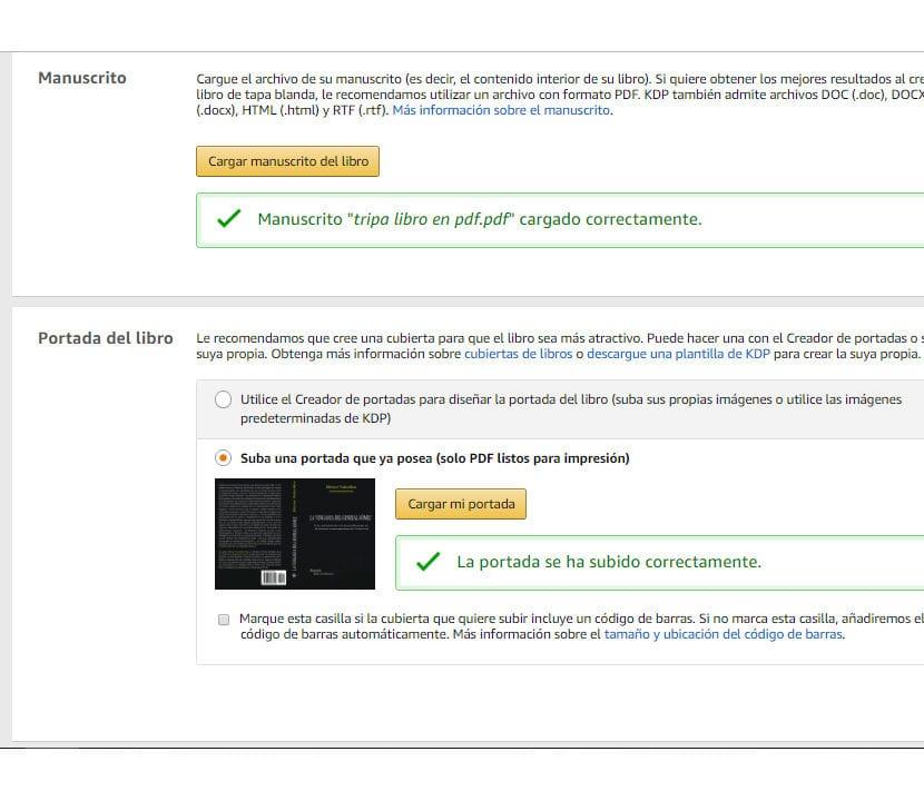 Amazon KDP subir portada y manuscrito versión impresa