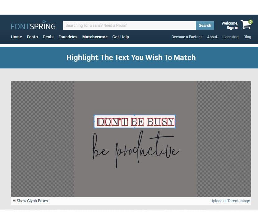 FontSpring Matcherator recortar el texto