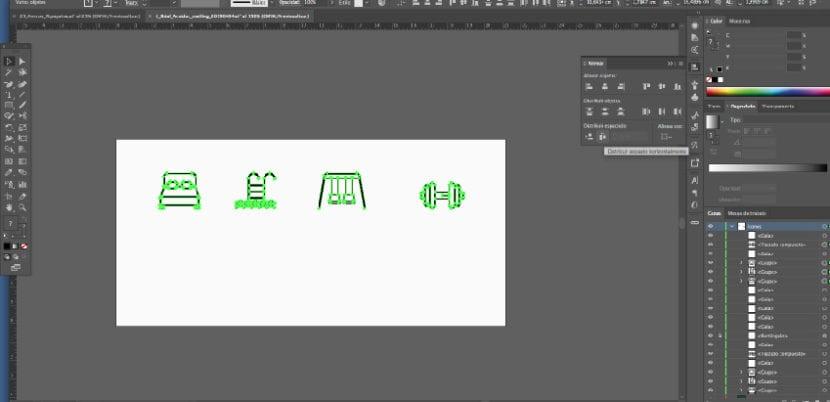 Iconos alinear horizontalmente