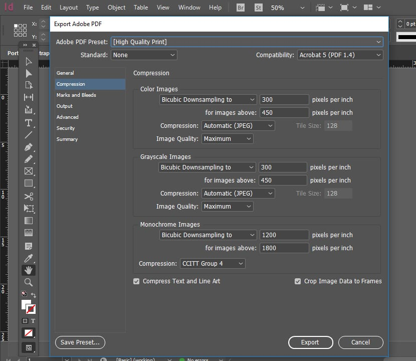 Exportar a PDF resolución 300 ppp