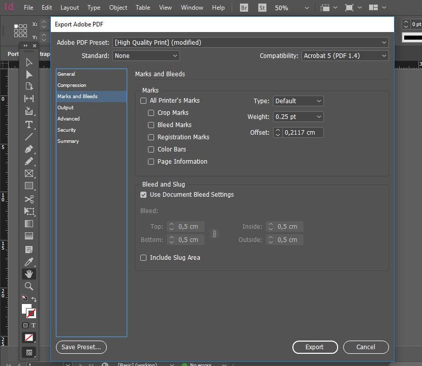 Exportar PDF configuración de sangrado