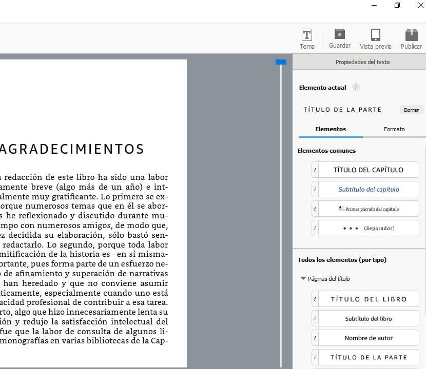 Kindle Create configuración del manuscrito