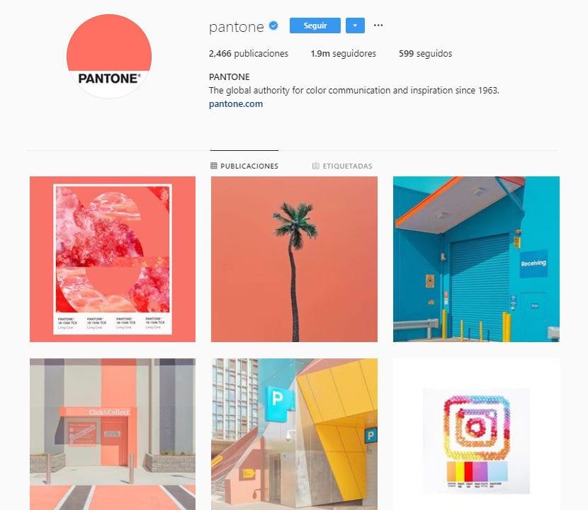 Perfil de instagram pantone