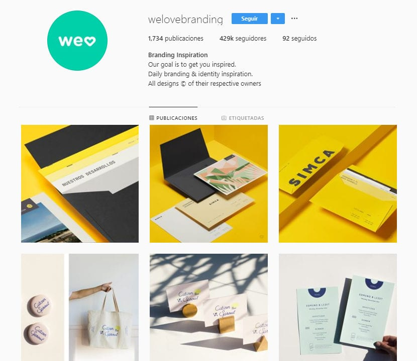 Perfil de instagram welovebranding