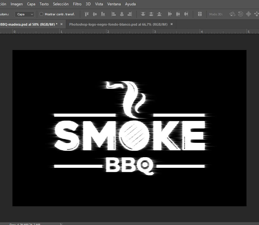 Photoshop logo con flitro de viento