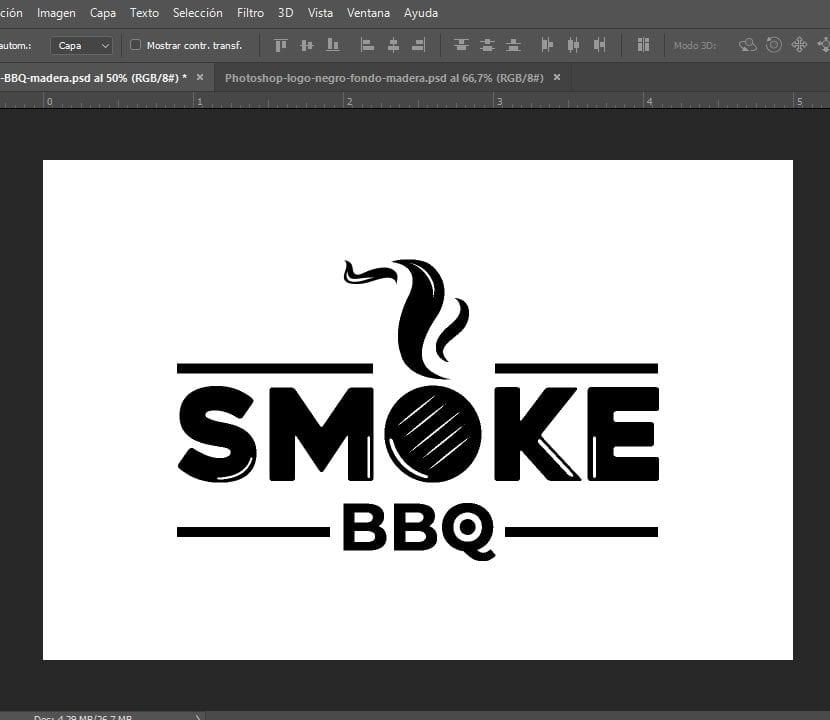 Photoshop logo negro en fondo color blanco